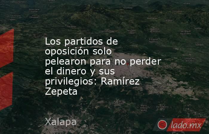 Los partidos de oposición solo pelearon para no perder el dinero y sus privilegios: Ramírez Zepeta. Noticias en tiempo real