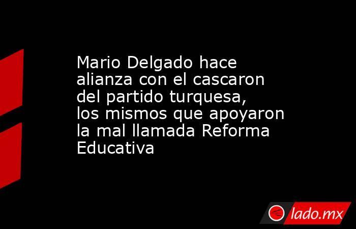 Mario Delgado hace alianza con el cascaron del partido turquesa, los mismos que apoyaron la mal llamada Reforma Educativa. Noticias en tiempo real