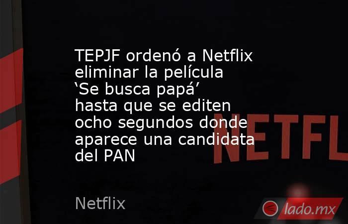 TEPJF ordenó a Netflix eliminar la película 'Se busca papá' hasta que se editen ocho segundos donde aparece una candidata del PAN. Noticias en tiempo real