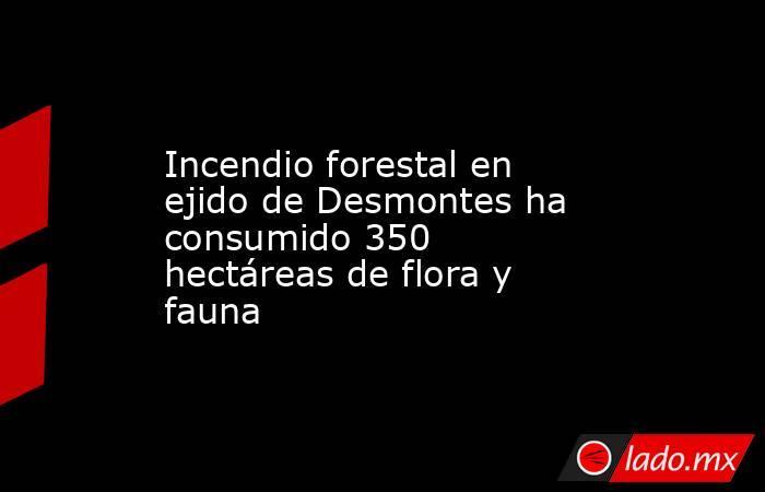 Incendio forestal en ejido de Desmontes ha consumido 350 hectáreas de flora y fauna. Noticias en tiempo real