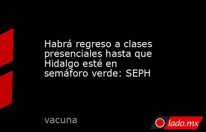 Habrá regreso a clases presenciales hasta que Hidalgo esté en semáforo verde: SEPH. Noticias en tiempo real