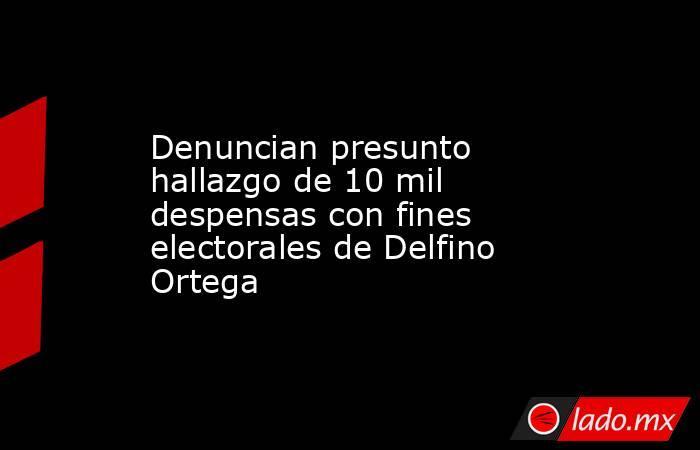 Denuncian presunto hallazgo de 10 mil despensas con fines electorales de Delfino Ortega. Noticias en tiempo real