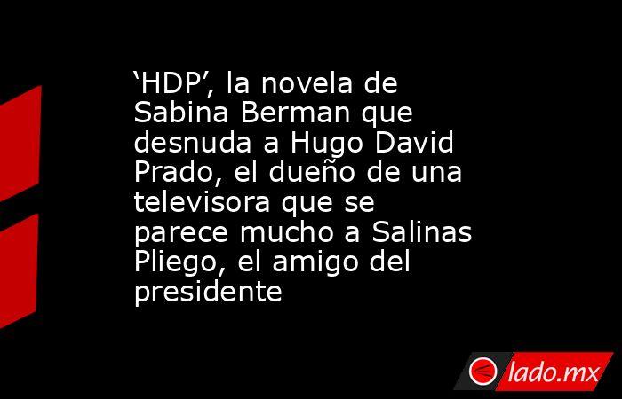 'HDP', la novela de Sabina Berman que desnuda a Hugo David Prado, el dueño de una televisora que se parece mucho a Salinas Pliego, el amigo del presidente. Noticias en tiempo real