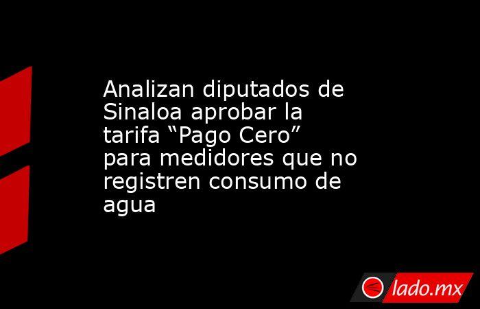 """Analizan diputados de Sinaloa aprobar la tarifa """"Pago Cero"""" para medidores que no registren consumo de agua. Noticias en tiempo real"""