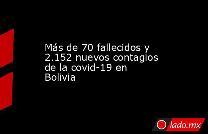 Más de 70 fallecidos y 2.152 nuevos contagios de la covid-19 en Bolivia. Noticias en tiempo real