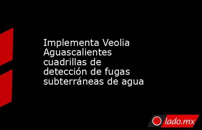 Implementa Veolia Aguascalientes cuadrillas de detección de fugas subterráneas de agua. Noticias en tiempo real