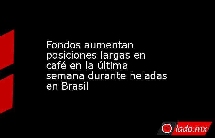 Fondos aumentan posiciones largas en café en la última semana durante heladas en Brasil. Noticias en tiempo real