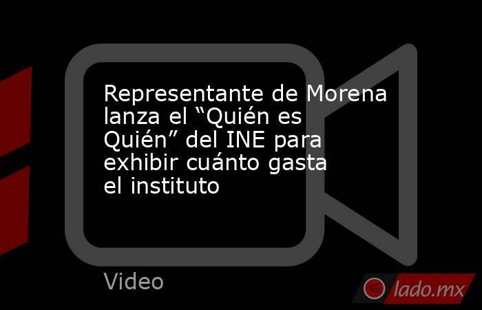 """Representante de Morena lanza el """"Quién es Quién"""" del INE para exhibir cuánto gasta el instituto. Noticias en tiempo real"""