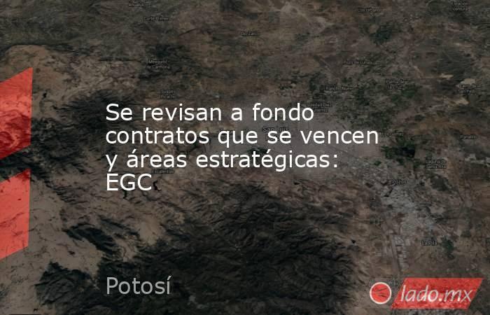 Se revisan a fondo contratos que se vencen y áreas estratégicas: EGC. Noticias en tiempo real