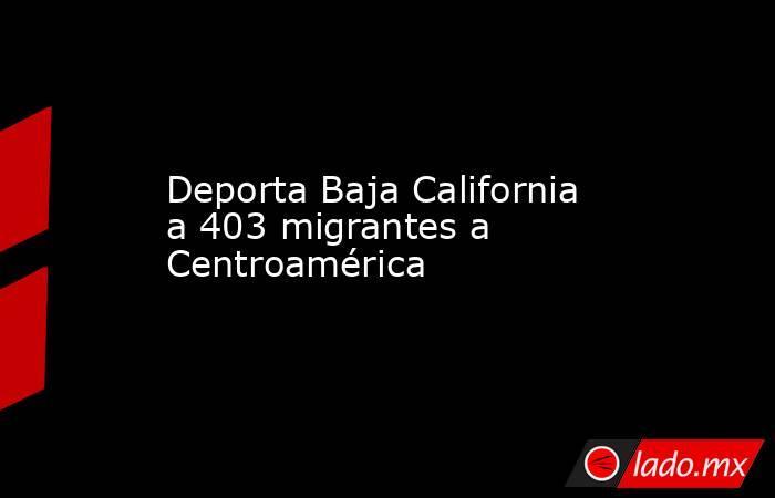 Deporta Baja California a 403 migrantes a Centroamérica. Noticias en tiempo real