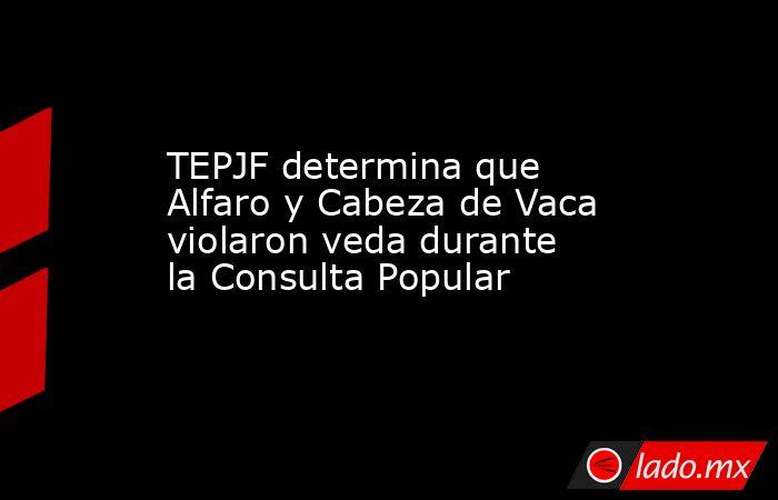 TEPJF determina que Alfaro y Cabeza de Vaca violaron veda durante la Consulta Popular. Noticias en tiempo real