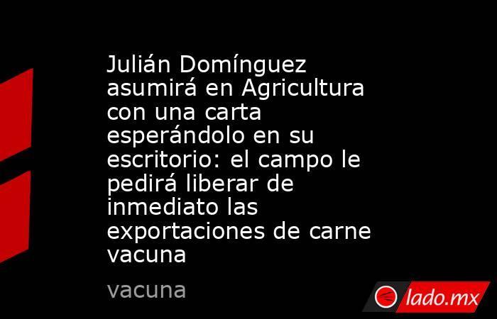Julián Domínguez asumirá en Agricultura con una carta esperándolo en su escritorio: el campo le pedirá liberar de inmediato las exportaciones de carne vacuna . Noticias en tiempo real