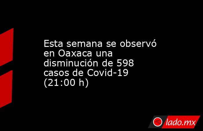 Esta semana se observó en Oaxaca una disminución de 598 casos de Covid-19 (21:00 h). Noticias en tiempo real