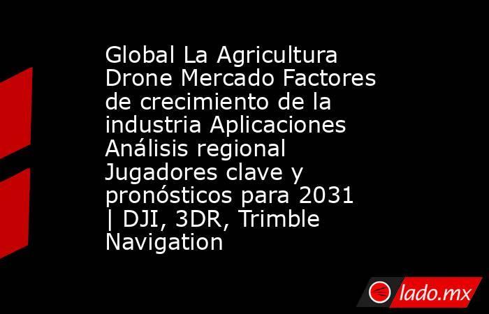 Global La Agricultura Drone Mercado Factores de crecimiento de la industria Aplicaciones Análisis regional Jugadores clave y pronósticos para 2031   DJI, 3DR, Trimble Navigation. Noticias en tiempo real