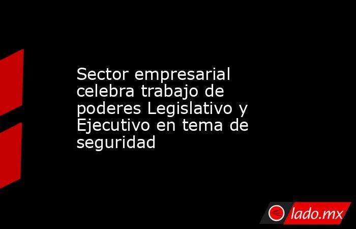 Sector empresarial celebra trabajo de poderes Legislativo y Ejecutivo en tema de seguridad. Noticias en tiempo real
