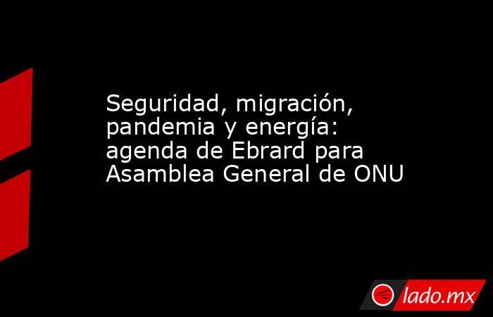 Seguridad, migración, pandemia y energía: agenda de Ebrard para Asamblea General de ONU. Noticias en tiempo real