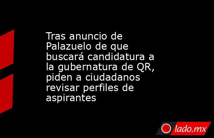 Tras anuncio de Palazuelo de que buscará candidatura a la gubernatura de QR, piden a ciudadanos revisar perfiles de aspirantes. Noticias en tiempo real
