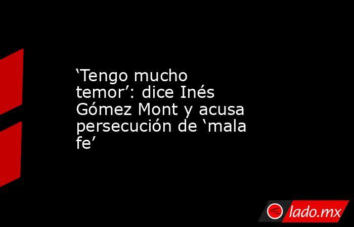 'Tengo mucho temor': dice Inés Gómez Mont y acusa persecución de 'mala fe'. Noticias en tiempo real