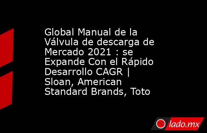 Global Manual de la Válvula de descarga de Mercado 2021 : se Expande Con el Rápido Desarrollo CAGR | Sloan, American Standard Brands, Toto. Noticias en tiempo real
