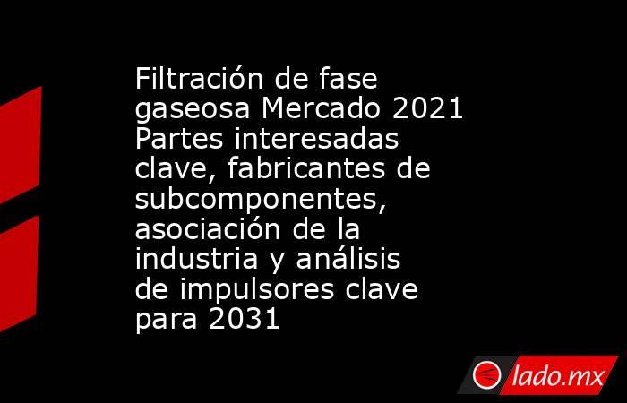 Filtración de fase gaseosa Mercado 2021 Partes interesadas clave, fabricantes de subcomponentes, asociación de la industria y análisis de impulsores clave para 2031. Noticias en tiempo real
