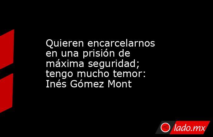 Quieren encarcelarnos en una prisión de máxima seguridad; tengo mucho temor: Inés Gómez Mont. Noticias en tiempo real