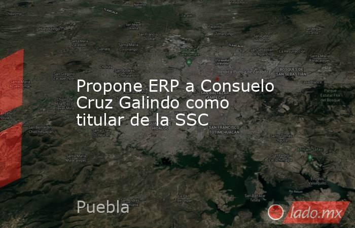 Propone ERP a Consuelo Cruz Galindo como titular de la SSC. Noticias en tiempo real