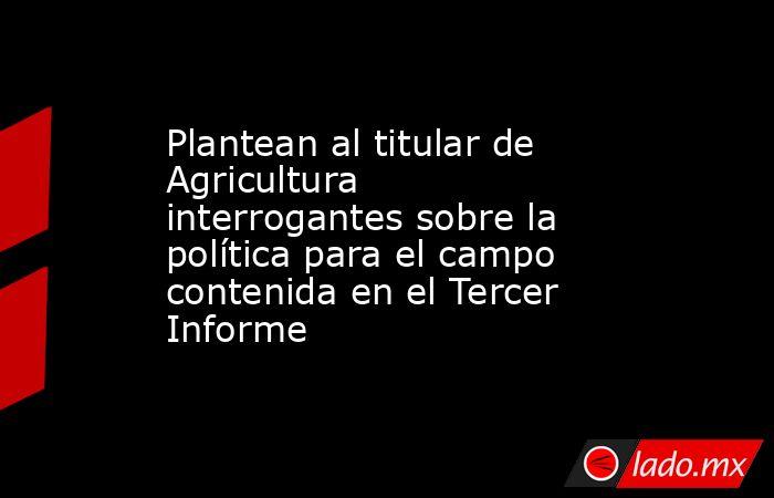 Plantean al titular de Agricultura interrogantes sobre la política para el campo contenida en el Tercer Informe. Noticias en tiempo real