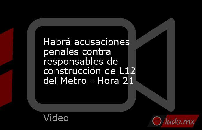 Habrá acusaciones penales contra responsables de construcción de L12 del Metro - Hora 21. Noticias en tiempo real