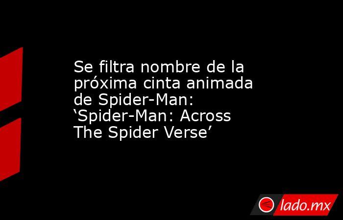 Se filtra nombre de la próxima cinta animada de Spider-Man: 'Spider-Man: Across The Spider Verse'. Noticias en tiempo real