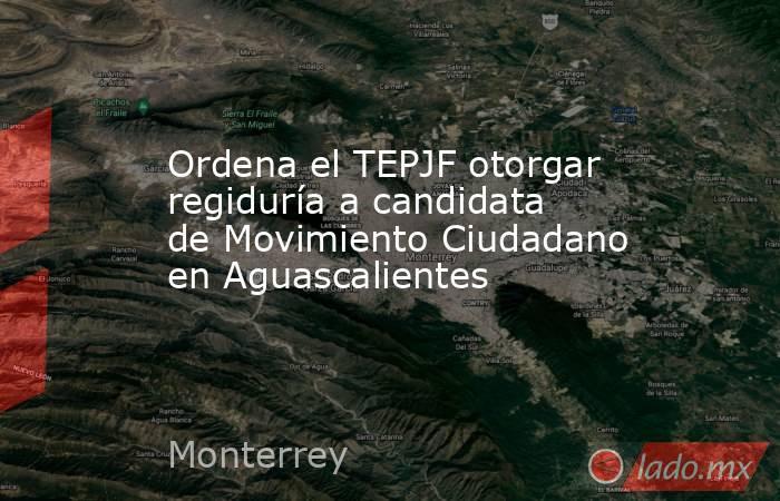 Ordena el TEPJF otorgar regiduría a candidata de Movimiento Ciudadano en Aguascalientes. Noticias en tiempo real
