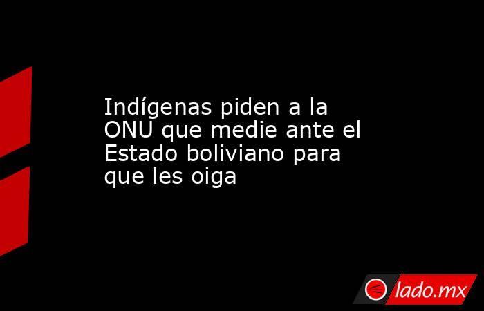 Indígenas piden a la ONU que medie ante el Estado boliviano para que les oiga. Noticias en tiempo real