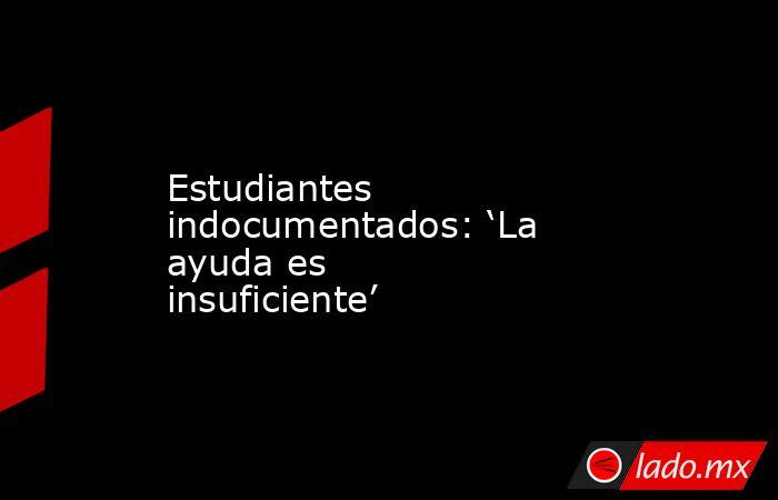 Estudiantes indocumentados: 'La ayuda es insuficiente'. Noticias en tiempo real