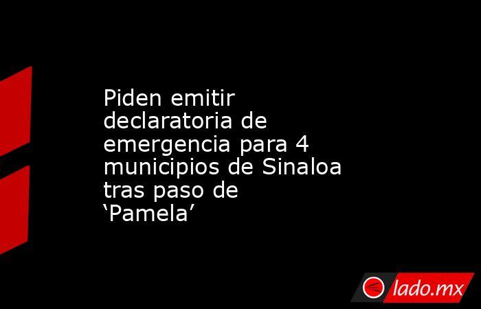 Piden emitir declaratoria de emergencia para 4 municipios de Sinaloa tras paso de 'Pamela'. Noticias en tiempo real