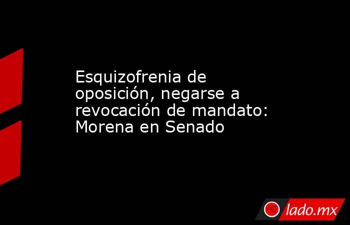Esquizofrenia de oposición, negarse a revocación de mandato: Morena en Senado. Noticias en tiempo real
