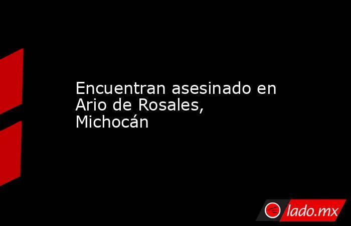 Encuentran asesinado en Ario de Rosales, Michocán. Noticias en tiempo real